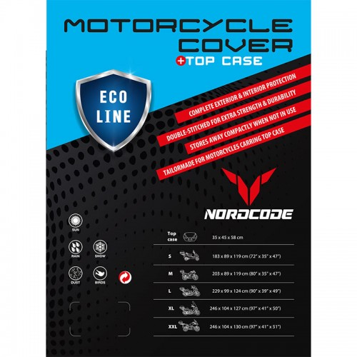 Kάλυμμα μοτό Nordcode Cover moto M Eco Line +Top Case