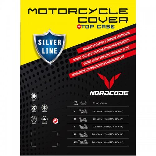 Kάλυμμα μοτό Nordcode Cover moto L Silver Line+Top Case