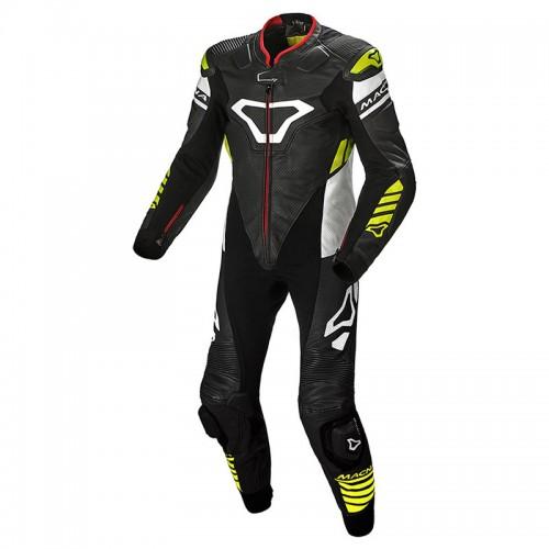 Macna Tracktix 1PC Suit 127 black/white/neon yellow