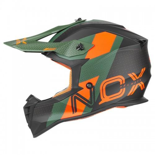 Κράνος Nox N633 Viper matt πράσινο/πορτοκαλί