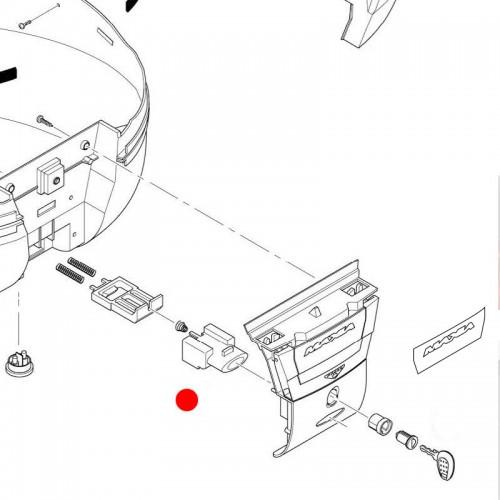 Z206R  Button + Button Spring (for top cases E55 / V56) Givi