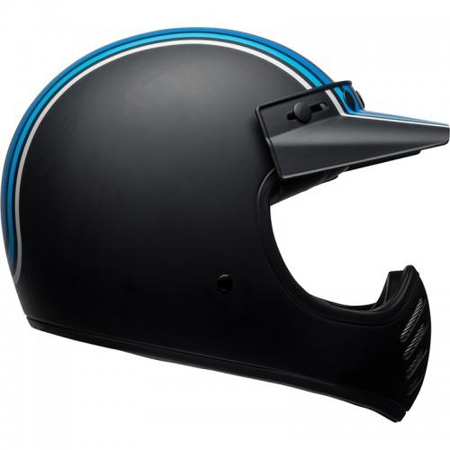 Κράνος Bell Moto 3 Stripes ματ ασημί-μαύρο-μπλέ