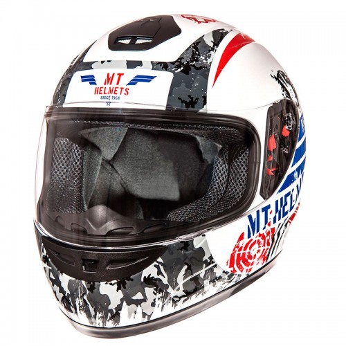 ΜΤ Sniper junior helmet Gloss Pearl White/Blue/Red